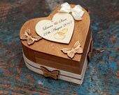 Ring bearer personalised. butterfly theme heart box