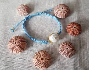 Unique  macame bracelet with white seaurchin