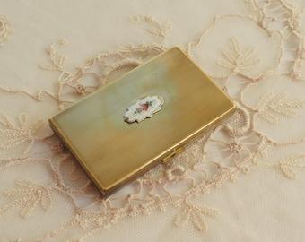 Vintage Guilloche Enamel Compact - Powder Makeup Case - Hand Painted Flowers - Pocket Mirror