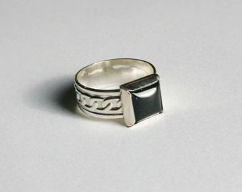 Black Onyx Sterling Silver Rope Band Ring, Sterling Silver Black Onyx Ring, Black Onyx Ring