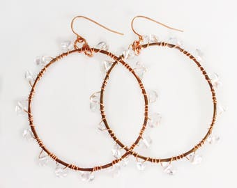 Crystal Nugget Hoop Earrings Tsalagi Cherokee Made