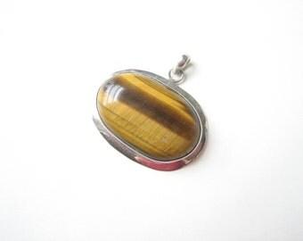 Vintage sterling silver tiger's eye pendant, large tigers eye, statement pendant, golden brown gemstone, brown semi precious