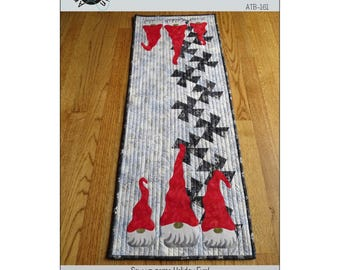 Twister Gnomes Pattern Quilted Table Runner by Around the Bobbin