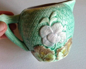 Majolica - antique cream brown pink and green majolica jug pitcher pink glazed interior