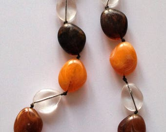 Necklace -  plastic amber marbled beads pebble shaped bead necklace chunky beads