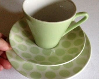 Retro China - Tams pale green colour vintage retro 60s china polka dot trio