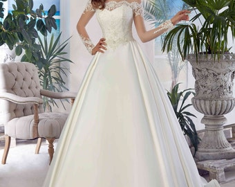 Bridal Lace Wedding Dress - Agata Wedding Stunning Lace Dress - Long Wedding Dress with Train - Elegant Wedding Dress - Robe de Mariée