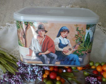 Suisse Mocha Tin 1990's Tin Can Art Memorabilia Coffee Collectible Tin with Boy and Girl with a Lute