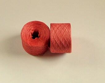 MEDIUM VERMILION 100% Silk 3248 yards recycled yarn