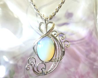 White Opalite Womans Pendant Wire Wrapped Jewelry Handmade in Silver With Free Shipping