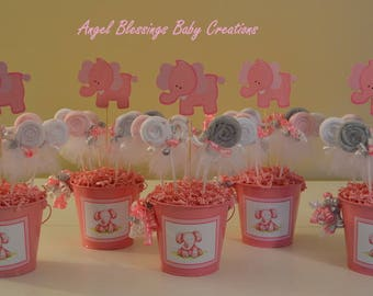 Elephant Baby Shower Centerpiece With Washcloth Lollipop Favors Made To  Order For Baby Boys, Baby