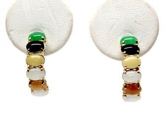 Multi-color cabochon jades half-hoop posts