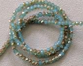 AQUA OPAL CELSIAN: 1x2mm Faceted Glass Rondelle Strand (195 beads per strand)