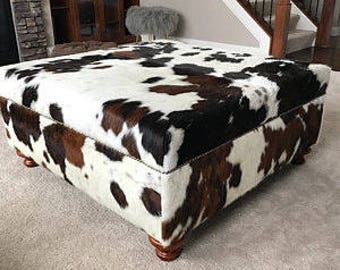 Genuine Cow Hide Cowhide Ottoman Footstool Bench Chair Furniture Table Coffee Table Custom. Color is BlacK ,White , Brown SOLD