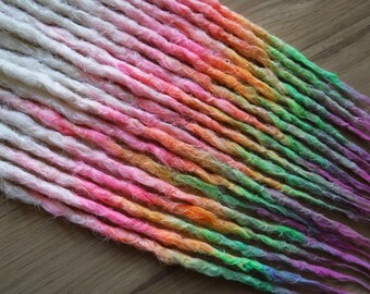 """Synthetic Dreadlocks - Quarter Set of 20 SE - """"Xanadu"""" Ombre Dream Pencil Thin Natural Crocheted Texture Dreads Made to Order"""