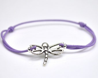 Dragonfly bracelet light purple cord