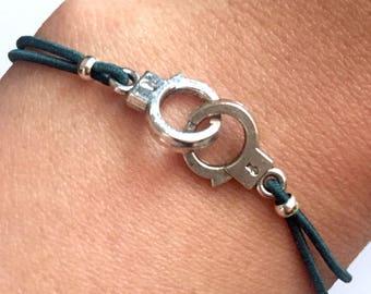 Silver cuff bracelet cord