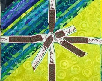 "Island Batik Lavish Lime Green Blue Batiks Stack Layer Cake 10"" Squares"