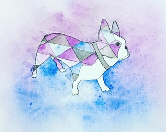 Dog painting, Boston Terrier Watercolour, Original Artwork/ Illustration