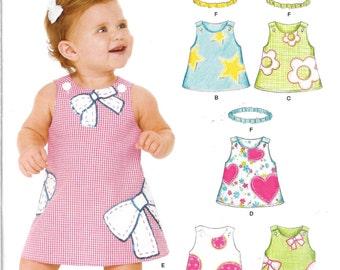 Babies New Look Pattern 6576 APPLIQUED DRESSES & HEADBAND Sizes Newborn - Large