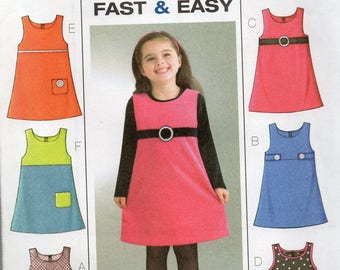 Butterick Pattern 4273 Six Sew Easy JUMPERS Girls' Sizes 6 7 8