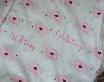 Personalized baby name watercolor floral blanket: baby and toddler personalized name newborn hospital gift baby shower gift