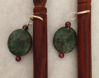 8 inch rosewood ss hair sticks with sterling silver wire wrap African jade and garnet beads on each hair stick