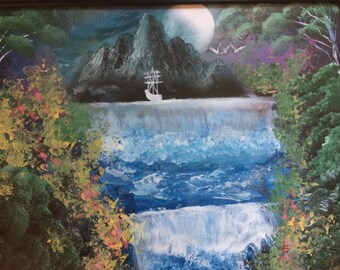 Double Waterfall Spray Paint Art Landscape