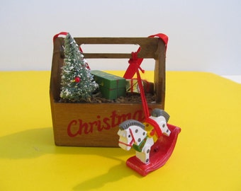 Ornaments, Christmas Ornaments, Christmas Decorations, Christmas, Vintage Christmas, Christmas Tool Box, Rocking Horses, Wooden Ornaments