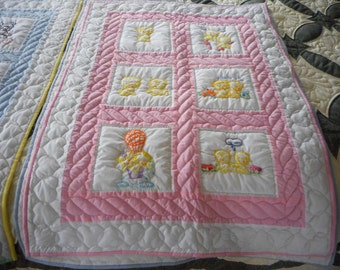 Amish Baby Quilt Embroidered Kittens