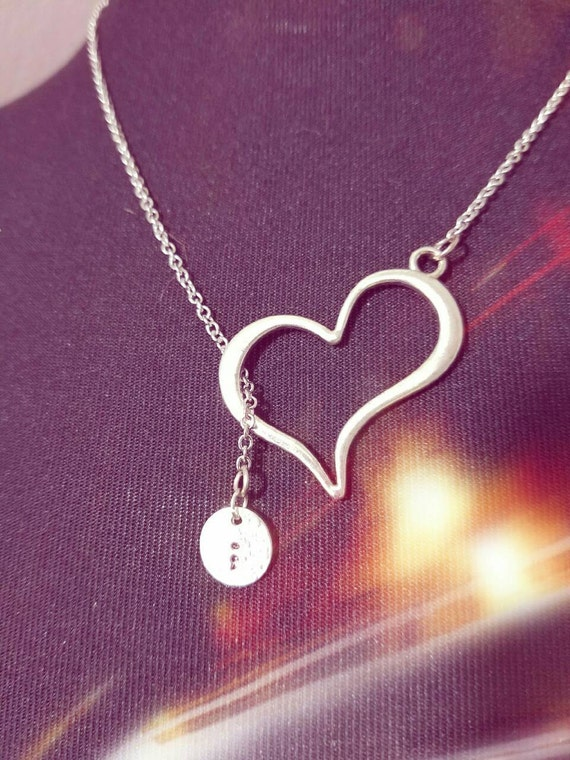 Semicolon stamped charm necklace hammered open heart chain Hand made Oregon
