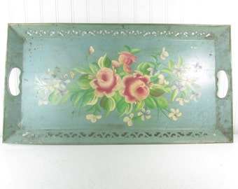 Tole Tray, Metal Tray, hand painted Tray, vintage tray, vintage tray, shabby chic tray, aqua tole tray