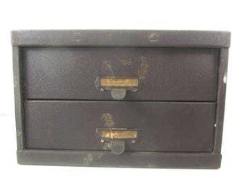 Vintage metal drawer, tool box, metal drawer box, two drawer, dresser , storage cabinet , organizer, file box