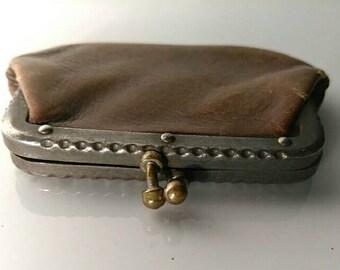 Vintage coin purse, brown leather change purse, vintage German coin holder, vintage change purse, vintage change wallet, old purse, Germany