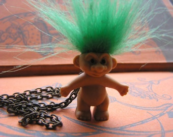 Mini Vintage Troll on 16 inch aged bronze chain Green hair