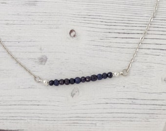 Intuition - genuine blue sapphire necklace, september birthstone, sapphire necklace, tiny stone necklace, unique sapphire, blue necklace
