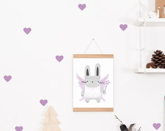Wall decals / wall stickers 45 heart purple