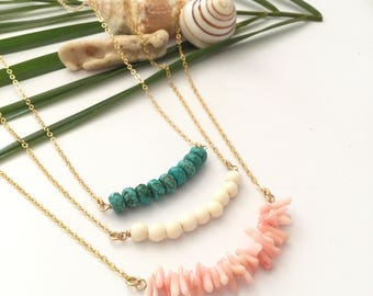 New! Beaded Bar Necklace Coral Turquoise Wood