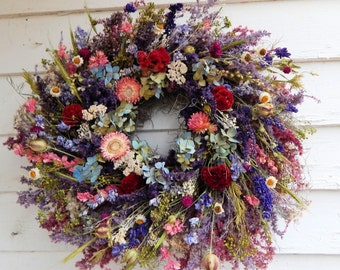 "Romantic Wreath, ""Wildflowers"" Dried Floral Wreath, Valentine Wreath, Year Round Wreath, Door Wreath,Winter Wreath,Centerpiece,Flower Wreath"