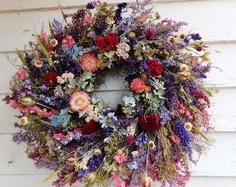 """Romantic Wreath, """"Wildflowers"""" Dried Floral Wreath, Valentine Wreath, Year Round Wreath, Door Wreath,Winter Wreath,Centerpiece,Flower Wreath"""