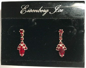 Eisenberg Ice Vintage New Stock Pierced Valentine's Day Earrings on Original Card Red Faux Ruby