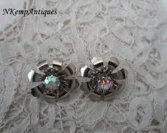 Rhinestone earrings clip ons 1950's
