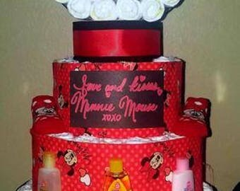 Minnie Mouse five layer pampers diaper cake