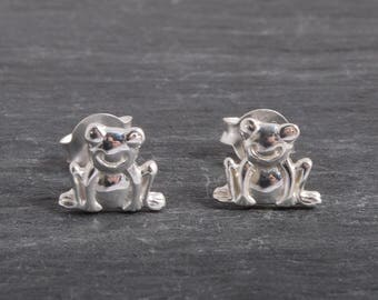 Sterling Silver Frog Earrings Ear Studs handmade