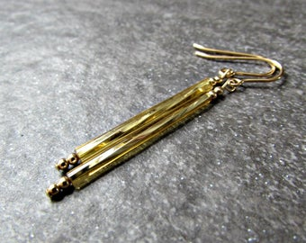 Long Gold Tube Earrings with Glass Drops and 14K Gold Filled Earwires- Minimalist Jewelry, Gift for Friend Sister Teen Girl- Girlfriend Gift