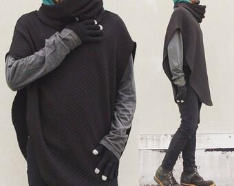 Black Sweatshirt Poncho