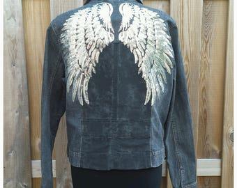 XL Embellished Jacket Coat *SILVER WINGS* Boho