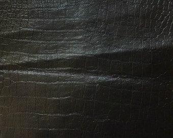 Black Crocodile 100% PU Leather Vinyl - Sold By The Yard CF/803
