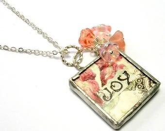 Pink Floral Soldered Pendant Necklace - Handmade Necklaces - Silver Pendant - Shabby Vintage Style JOY Pendant