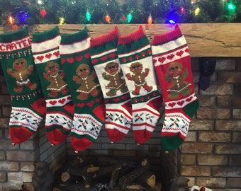 Hand Knit Gingerbread Girl and Gingerbread Boy Christmas Stockings